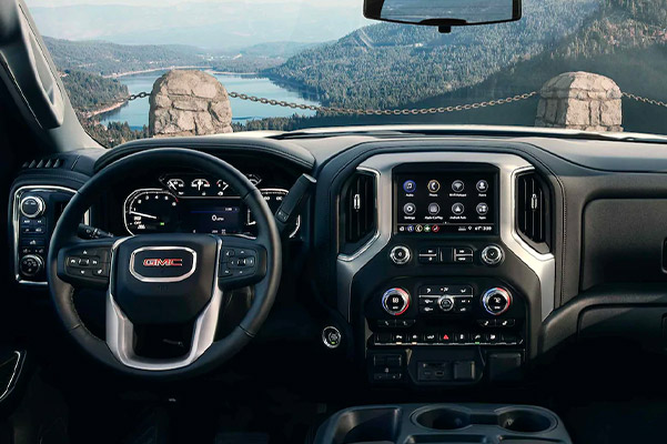 Interior shot of the dashboard in a GMC truck