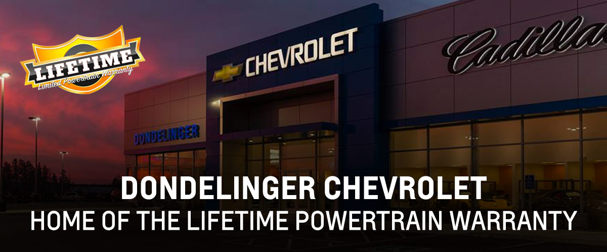 Dondelinger Chevrolet-Cadillac: Home of the Lifetime Powertrain Warranty header