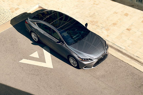 Metallic gray 2020 Lexus ES from an aerial view