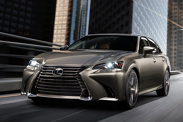 2020 Lexus GS in action driving down a city street