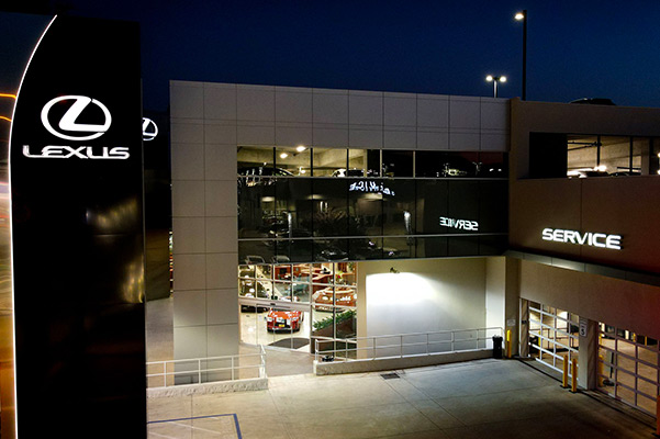 Exterior image of the Lexus of Glendale dealership at night