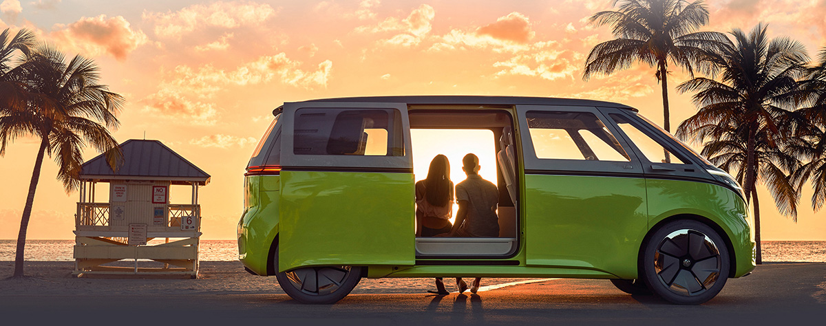 VW Bus parked at sunset