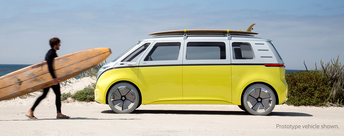 VW Bus parked at beach