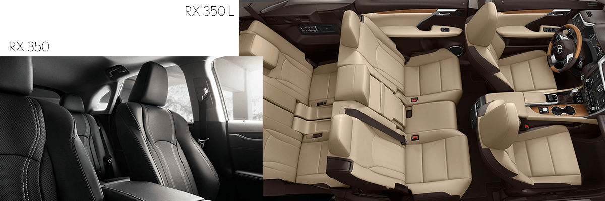 2019 Lexus RX350 and RX350L interior space