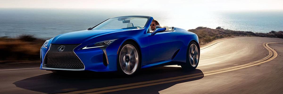 2021 Lexus LC 500 convertible on coastal highway
